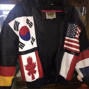 Other - Vintage leather flag jacket